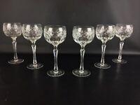 Rare Set 6 verres vin à pied haut style renaissance en cristal - Anciens XIXe