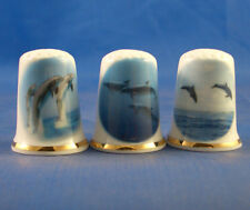 Birchcroft Thimbles -- Set of Three  --  Dolphins in the Sea ( Make Offer )