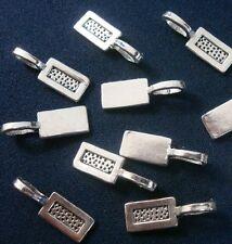 10 Antique silver plated 22mm x 8mm glue on pendant bails create pendants gpb003