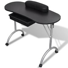 Large Black Portable Manicure Nail Table Station Desk Spa Beauty Salon Equipment