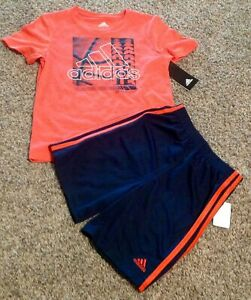 Adidas Boy Set Size 6 Two Pieces Blue Orange New