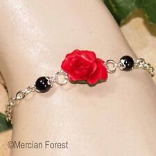 Red Rose Bracelet - Handmade Polymer Clay Jewellery - Goth Gothic Summer Flowers
