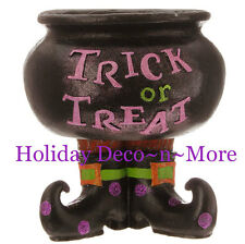RAZ TRICK OR TREAT HALLOWEEN CAULDRON DECOR FLORAL ARRANGEMENT CANDY DISH GIFT