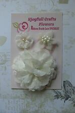 HANDMADE 3 Flower Mix IVORY Satin Lace Organza 45, 50 & 95mm NjoyfullCrafts