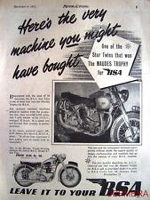 1952 Motor Cycle ADVERT - Maudes Trophy Win B.S.A. 'Model A7 Star Twin' Print AD