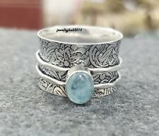 Aquamarine Ring Solid 925 Sterling Silver Spinner Ring Aquamarine Jewelry