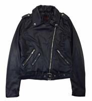 Yoki Woman's Navy Sherpa Lined Faux Leather Moto Jacket Size S M L XL 1X 2X 3X