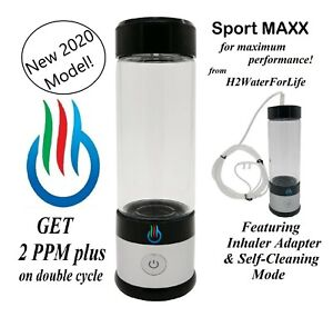 H2 USB Sport MAXX Hydrogen Water Maker with Glass bottle and Inhaler Adapter