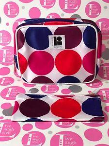 Estee Lauder 2 PIECE~LISA PERRY Pink/Red/Blue/Purple/White POLKADOT Makeup BAGS