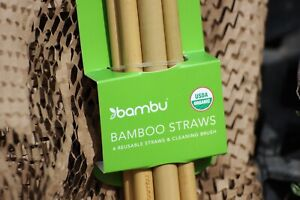 Bambu STRAW set Organic Bamboo straws w/ cleaner NATURAL reuseable