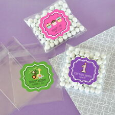 24 Mod Kid's Birthday Personalized Clear Candy Bags Birthday Party Favors