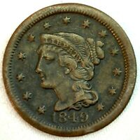 1849 Braided Hair US One Cent Penny Coin 1c Copper Coin VF Very Fine Large Cent