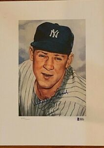 1953 Topps Whitey Ford Signed Portrait Lithograph Auto HOF Yankees 682/2000 BAS
