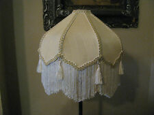 "Victorian French Med Lamp Shade Lotus "" Buttercream"" Tassels 6"" Fringe Look!"