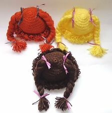 Cabbage Patch Kid Hat Inspired Crochet Wig, Choose your color,size Braid Pigtail