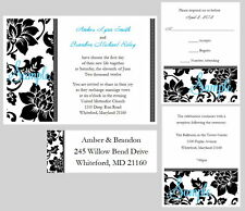 100 Personalized Custom Damask Wedding Invitations Set Address Labels
