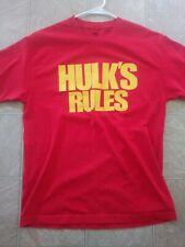"""""""Hulk Rules"""" WWE Hulk Hogan Throwback T Shirt L"""