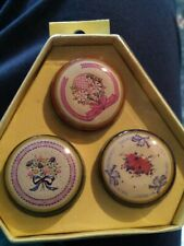 Lot of 6 round Flower Tin Metal Pill Box Carry Cases 1980's Dime store items