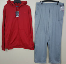 NIKE KO THERMA-FIT SWEATSUIT HOODIE + SWEATPANTS RED GREY NWT RARE NEW (SIZE XL)