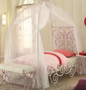 Butterfly Princess Carriage Full Size Metal Canopy Bed in White & Light Purple
