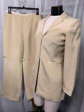 Ann Taylor Petite Amazing Pure Silk Women's Beige Fully Lined Pants Suit Size 4P
