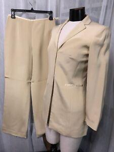 Ann Taylor Women's Suit Petite Pure Silk Beige Fully Lined Pants Suit Size 4P
