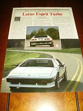 1984 LOTUS ESPRIT ***ORIGINAL ARTICLE / ROAD TEST***