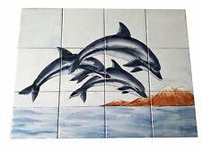 Dauphins carrelage peint à la main Carreaux de céramique FAYANCE Image murale