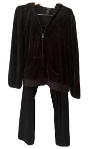 Bisou Bisou Michele Bohbot 3X Black Velour Jogging Pants Zip Up Hoodie Set