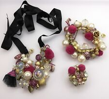Betsey Johnson Dress High Heel Crown Bow Heart Pearl Necklace Bracelet Ring Set