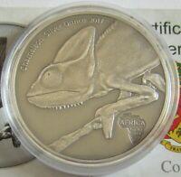 Kongo 1000 Francs 2017 Tiere Chamäleon 1 Oz Silber