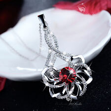18k white gold gf 3D flower blossom crystal pendant necklace party function