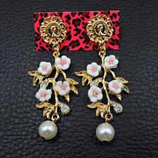 New Fashion Betsey Johnson rare Alloy rhinestone Pearl Flower Drop earring Jewel