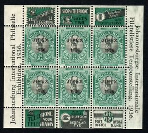 South Africa 1936 JIPEX mini sheet 1/2d Green - All stamps MNH
