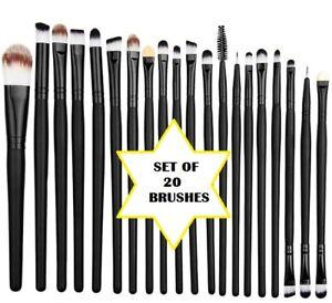 Make Up Brushes ~ Set of 20 ~ Long Black Handle ~ All different applicators