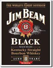 JIM BEAM - BLACK LABEL - LARGE METAL TIN SIGN 40.6CM X 31.7CM GENUINE AMERICAN