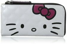 NWT Hello Kitty Pink Bow White Half-Zip Quilted Faux Patent Leather Wallet