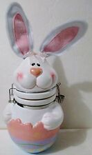 Easter Bunny Cookie Candy Jar Decoration Storage Ceramic Pottery Never Used Ex