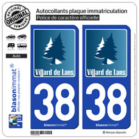 2 Autocollants plaque immatriculation auto : 38 Villard-de-Lans - Vercors