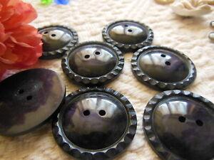 lot 6 gros  boutons vintage violet foncé marbré 3 cm ref 1079