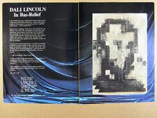 1980 Salvador Dali Lincoln in Bas-Relief dalivision vintage print Ad