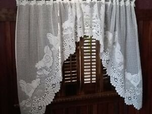 Vintage Pair Crochet Lace Swag Curtains Chickens and Peeps, White Length 36 inch