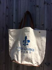 LARGE CANVAS AND LEATHER TOTE/BEACH BAG /SHOPPER