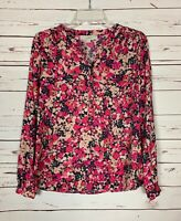 Loft Women's Sz XS Extra Small Pink Floral Button Long Sleeve Spring Top Blouse