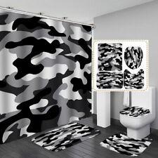 Camouflage Shower Curtain Bath Mat Toilet Cover Rug Bathroom Decor
