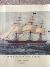 Nathaniel Currier, American, 1813-1888, Clipper Ship Nightingale,Colored Litho