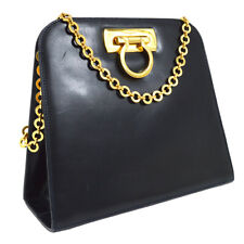 Salvatore Ferragamo Gancini Chain Shoulder Bag Navy Leather Vintage YG01963d
