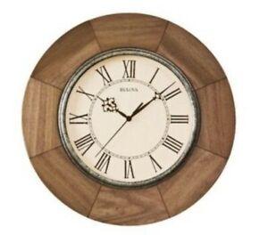 "Bulova C4223 Light Oak 14"" Battery Wall Classic Design Clock $117 Retail MK10"
