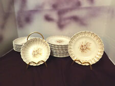 "LIMOGES USA  ""SUNDALE"" DAISIES - 22K GOLD (8) Berry Dishes  (14) Bread&Butter"