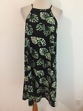 Forever 21 Sleeveless Tunic Top Black w/Green & Ivory Tropical Size 2X